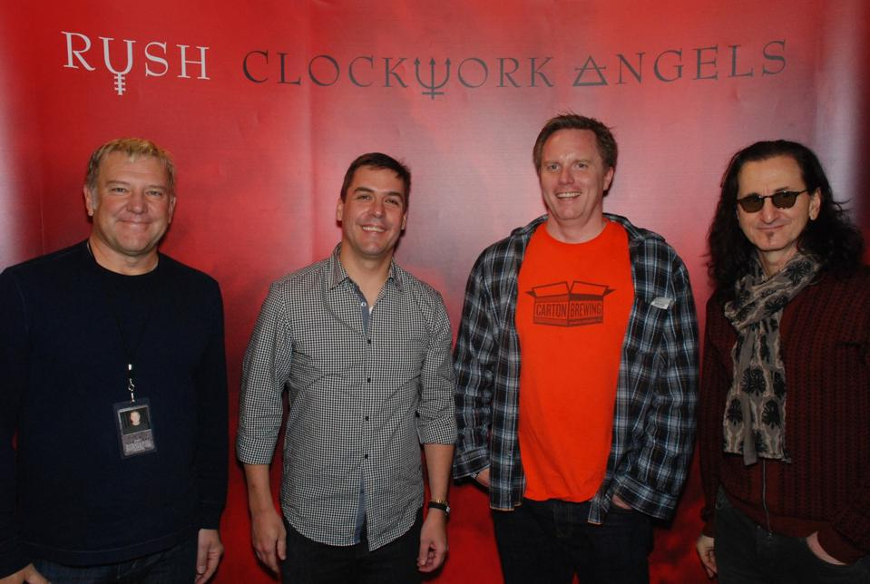 Carton Brewing co-founder Augie Carton at a meet and greet with Alex Lifeson and Geddy Lee