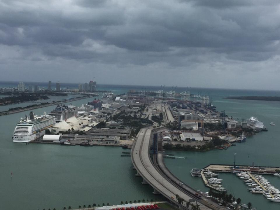 Cruise ships docked in the Port of Miami
