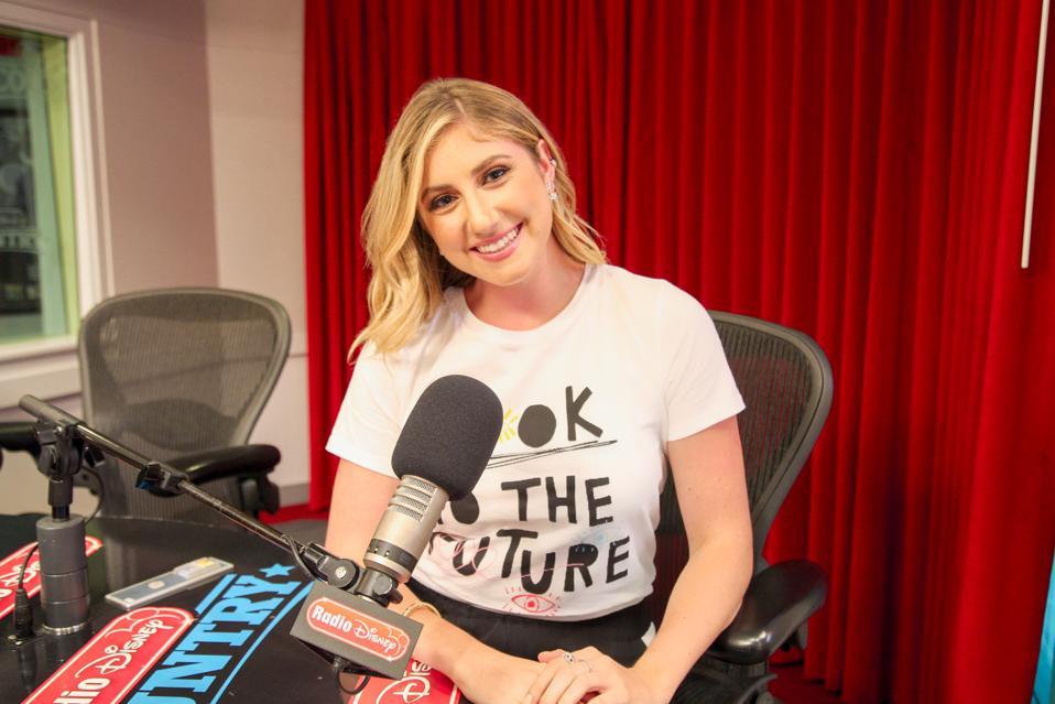 Alexa Curtis working at her Radio Disney show