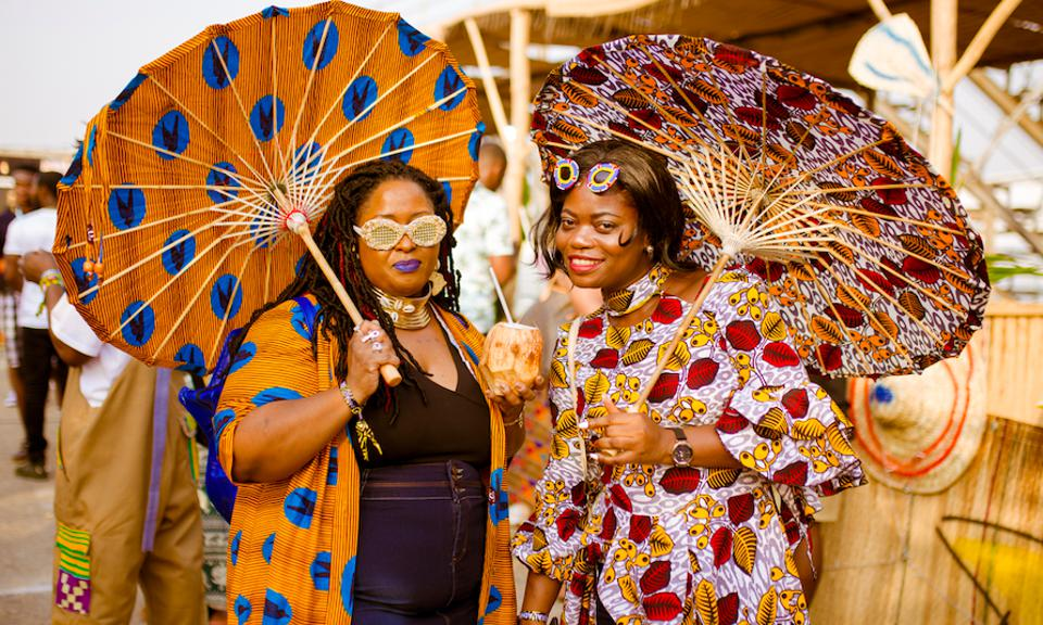Festival-goers at Afrochella in Accra, Ghana