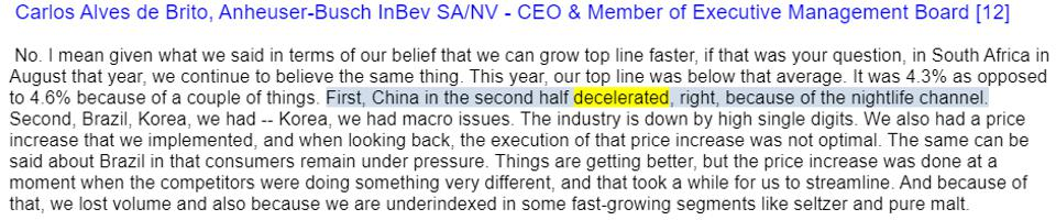 CEO of AB InBev mentions deceleration on February 27th