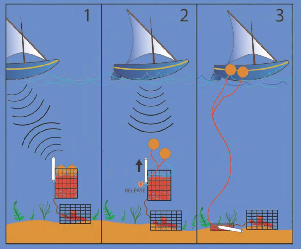 Pop up or ropeless fishing technology with acoustic transmitter, buoy and rope