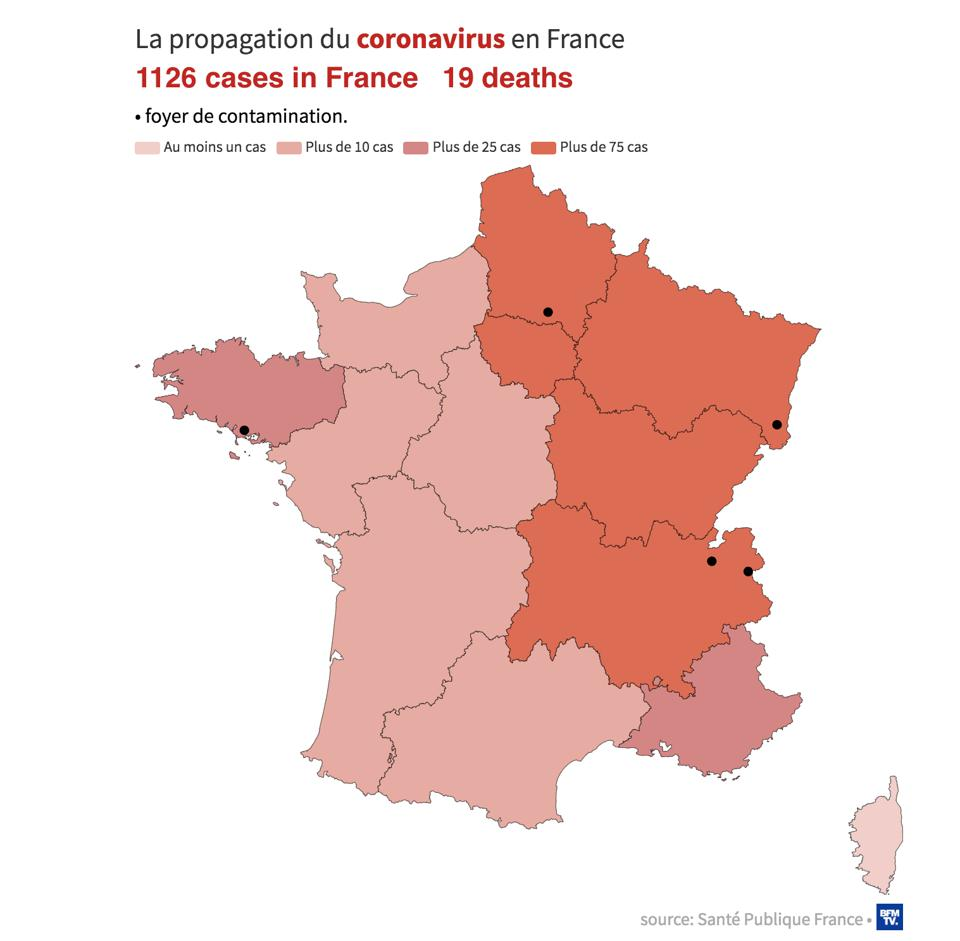 Map shows spread of coronavirus France by region country fears epidemic