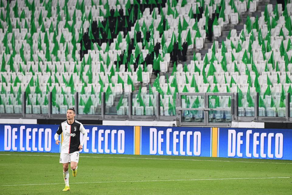 Serie A match played at an empty Juventus stadium due to the novel coronavirus outbreak.