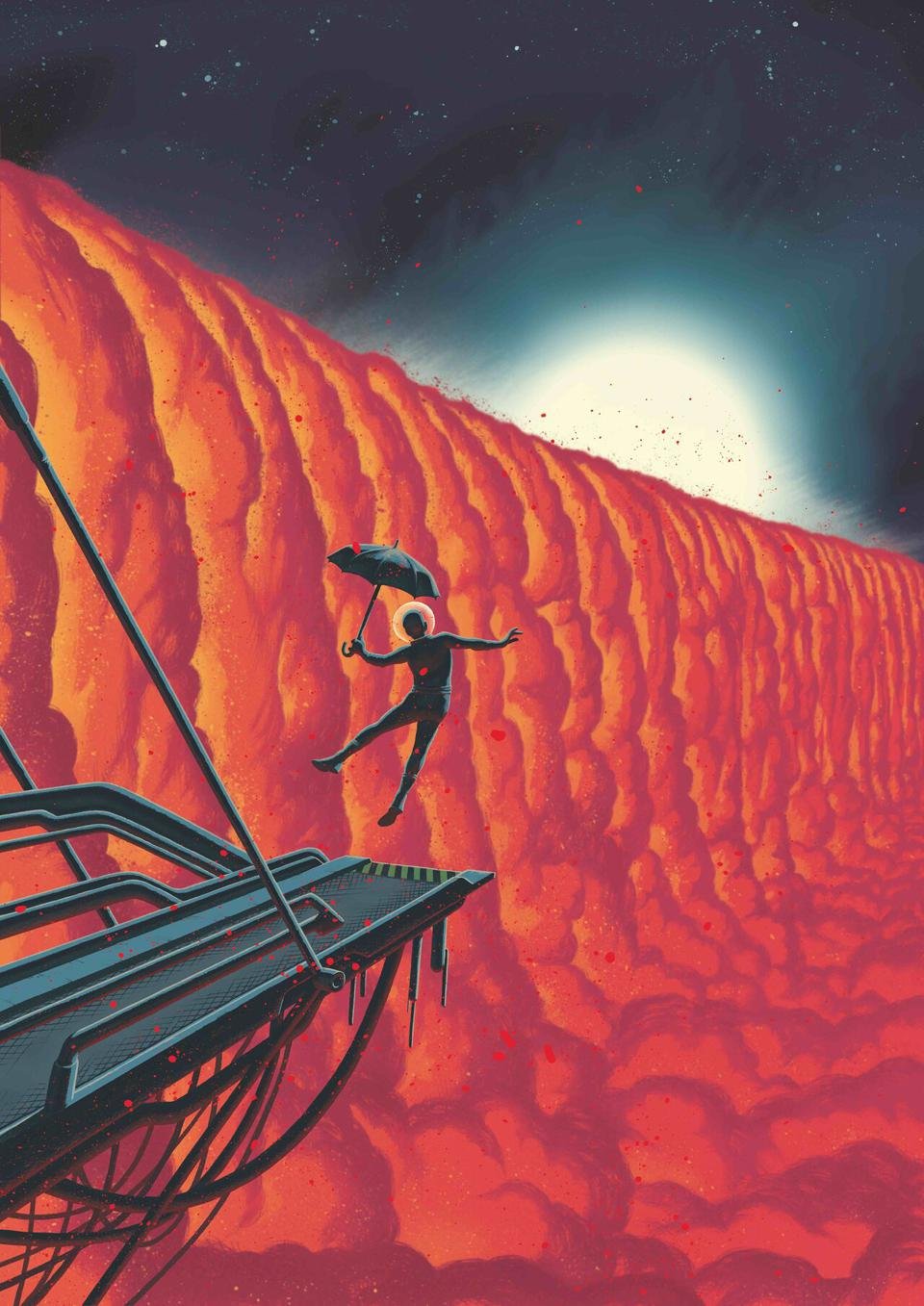 This comic-book-style illustration by Swiss graphic novelist Frederik Peeters shows a close-up view of the evening border of the exoplanet WASP-76b. The ultra-hot giant exoplanet has a day side where temperatures climb above 2400 degrees Celsius, high enough to vaporise metals. Strong winds carry iron vapour to the cooler night side where it condenses into iron droplets.  Theoretical studies show that a planet, like WASP-76b, with an extremely hot day side and colder night side would have a gigantic condensation front in the form of a cloud cascade at its evening border, the transition from day to night, as depicted here.