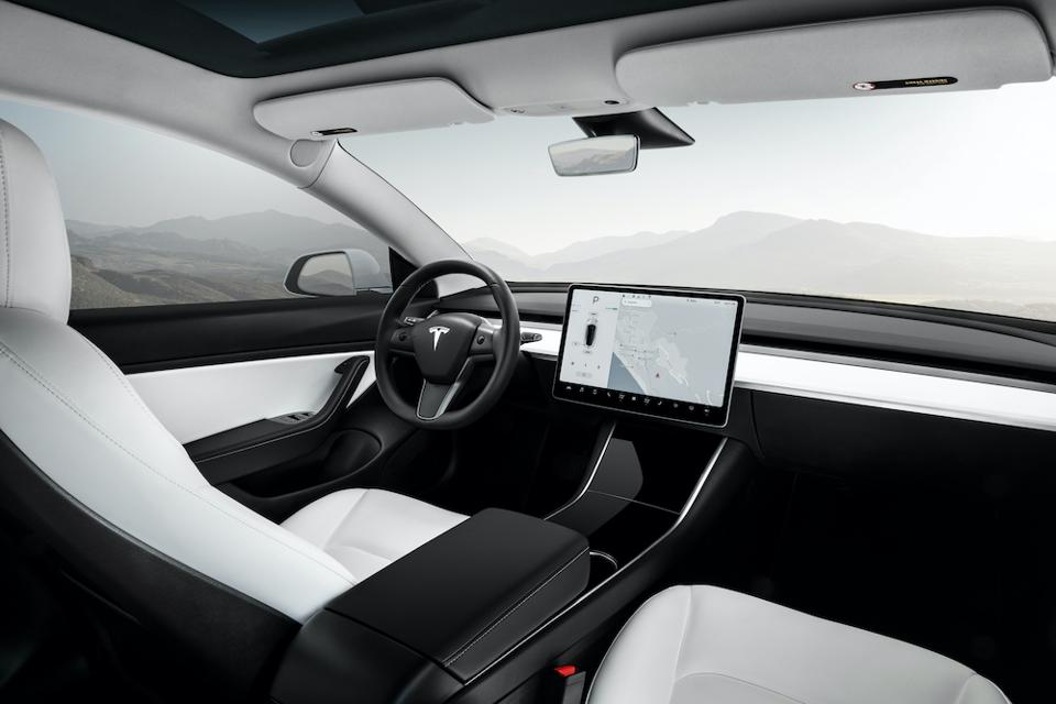 Tesla Model 3 Performance, with a vegan all-white interior