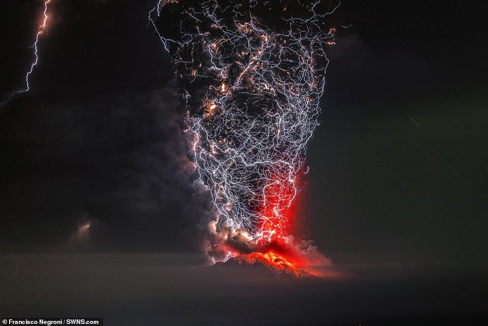 Volcano erupting during Chilean storm