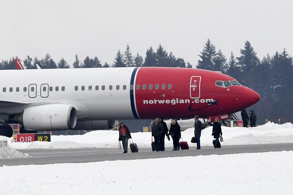 A Norwegian Air Shuttle plane on the tarmac at Arlanda Airport in Stockholm, Sweden.
