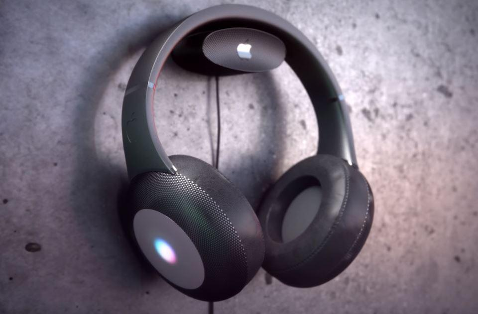 A concept image of Apple's possible future over-ear headphones from YouTube channel Curved.