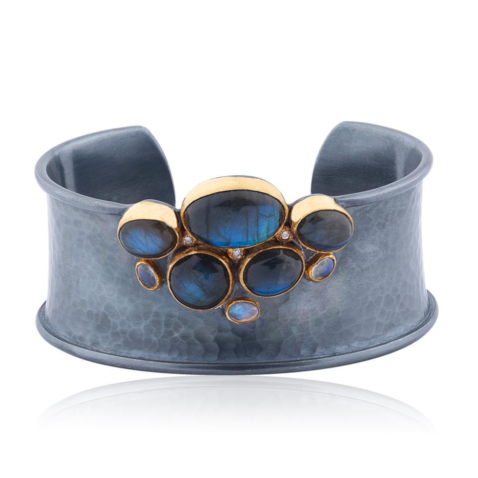 Labradorite, diamond, 24-karat gold and diamond cuff bracelet.