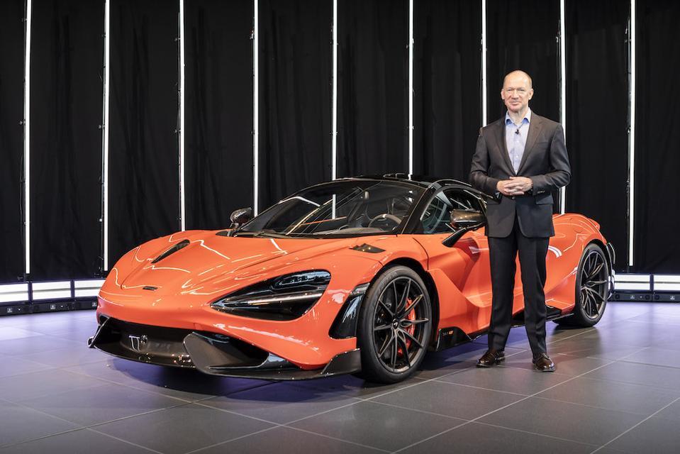 McLaren Automotive CEO Mike Flewitt revealing the 765LT