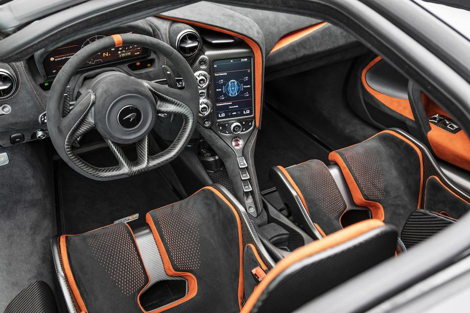 The interior of the McLaren 765LT uses lightweight carbon and Alcantara