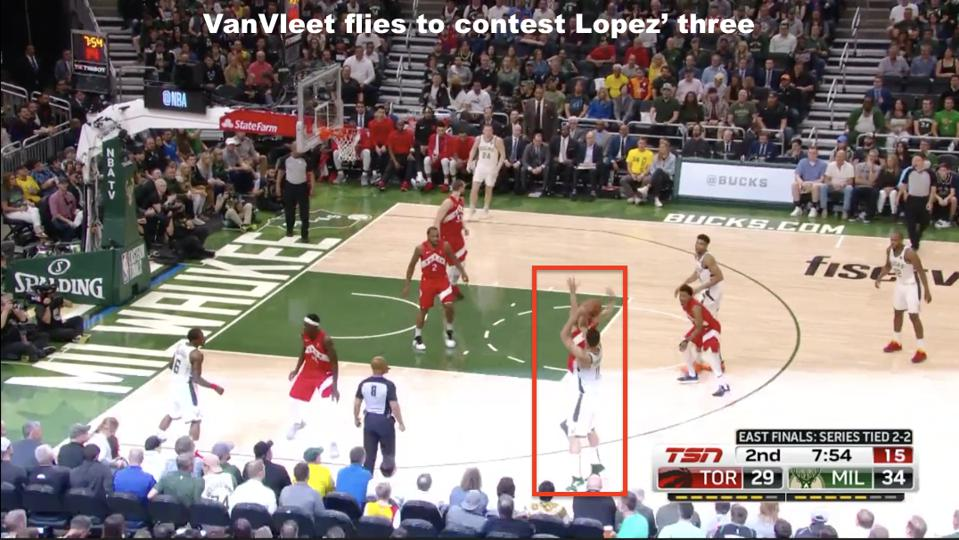 A hard closeout by VanVleet helps to force the miss.