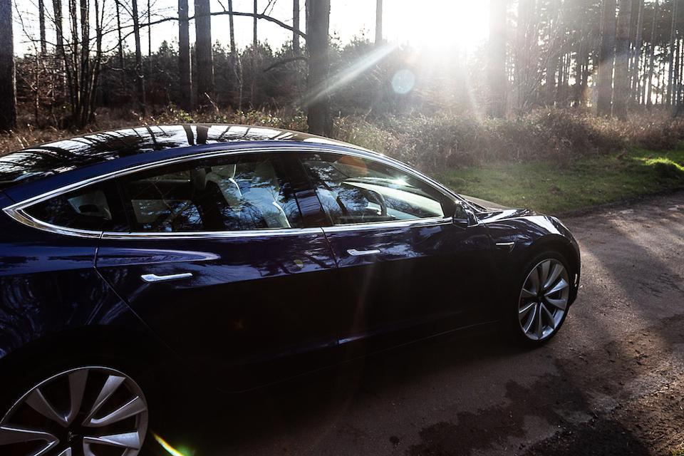 Tesla Model 3 in Deep Blue, one of the five exterior color options