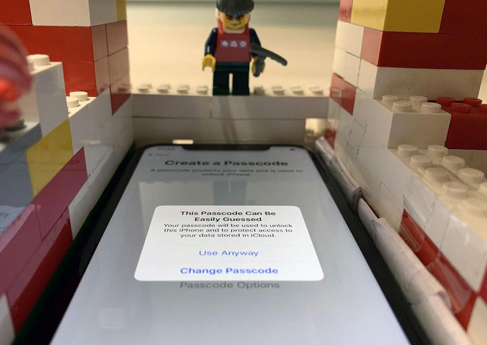 An image of a LEGO brick built robot that security researchers used when studying iPhone PIN codes