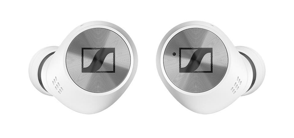White Sennheiser Momentum True Wireless 2 earphones