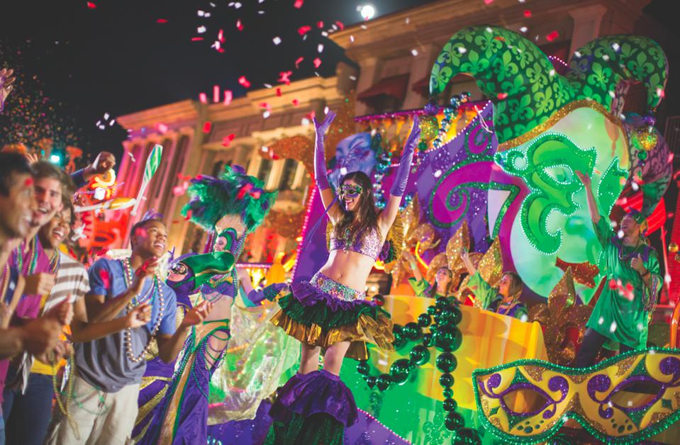 The Mardi Gras parade at Universal Orlando