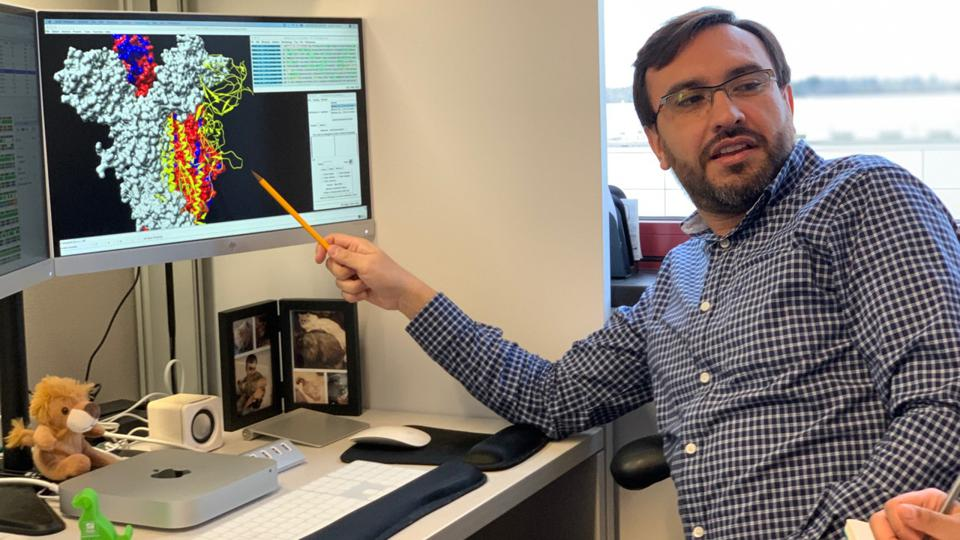 Colombian scientist Javier Jaimes showing a structural model of the spike protein of SARS-CoV-2 at the College of Veterinary Medicine, Cornell University on February 24, 2020.
