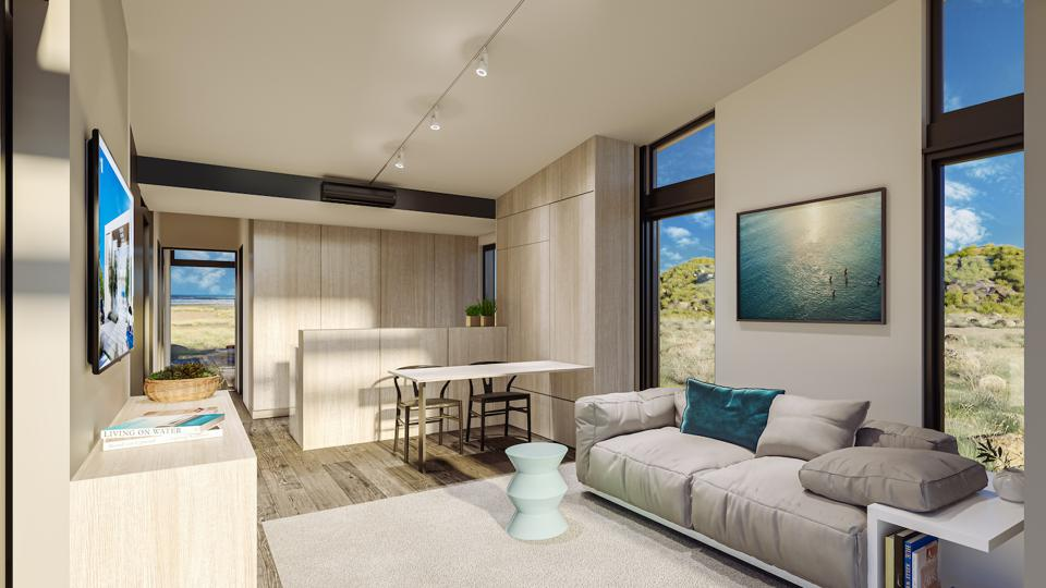 This rendering shows the interior design of the BUD ADU by Plant Prefab.