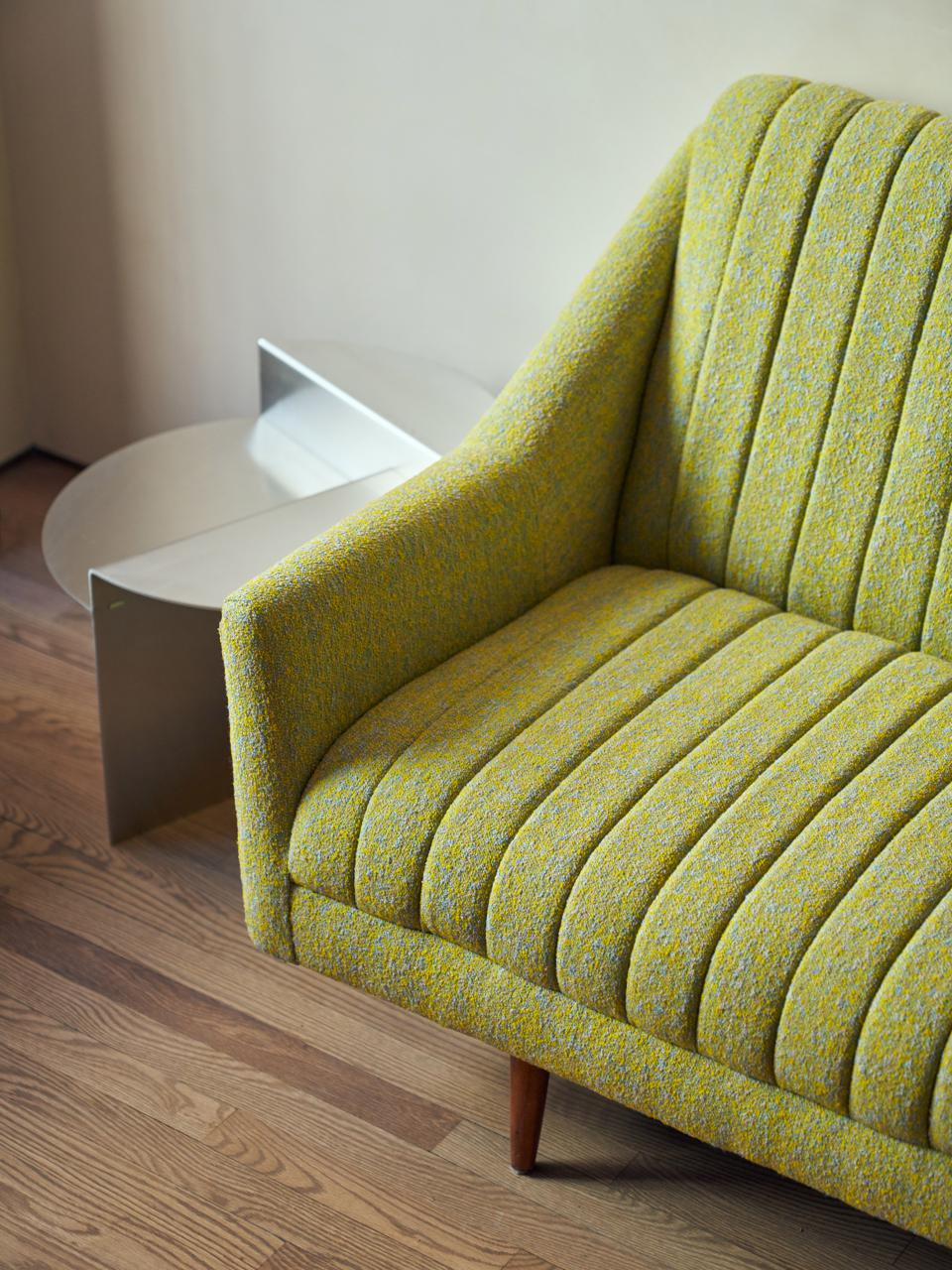 Sofa details at Paintbox's new Upper East Side location