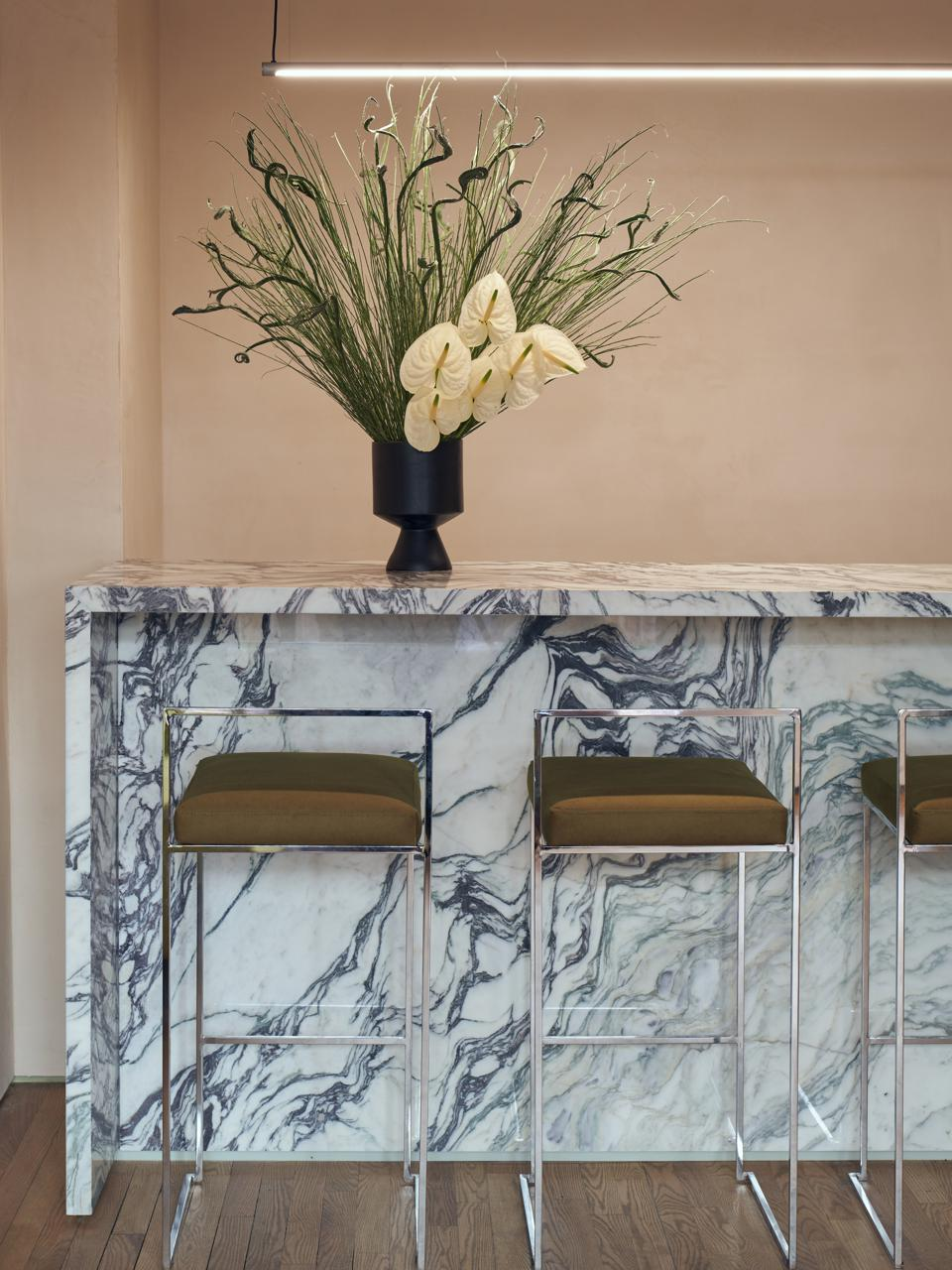 The marble bar at Paintbox's new Upper East Side location