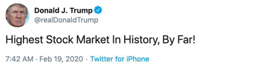 Trump tweet about highest Dow Industrials in history