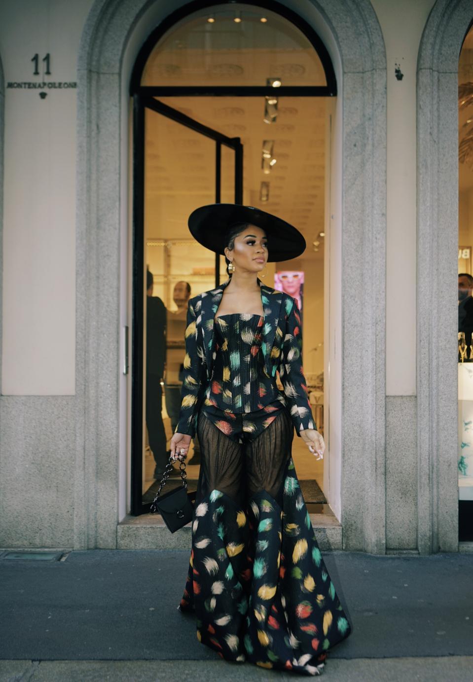 Saweetie in Milan wearing Harry Halim Photo Credit: