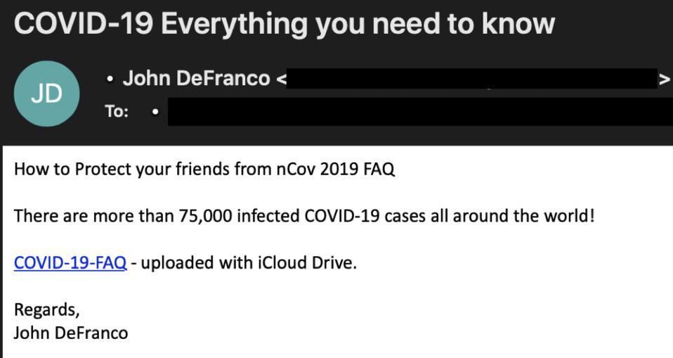 Coronavirus COVID-19 pandemic phishing email