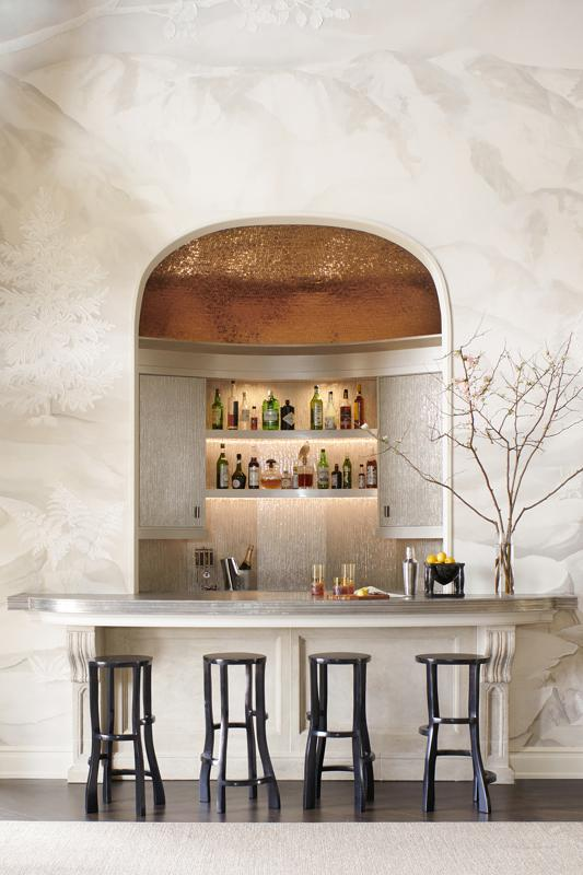 Home bar with metallic finishes.