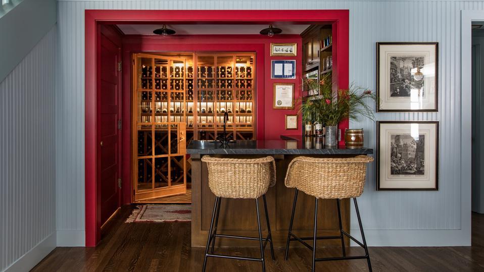 Home bar with wine rack display.