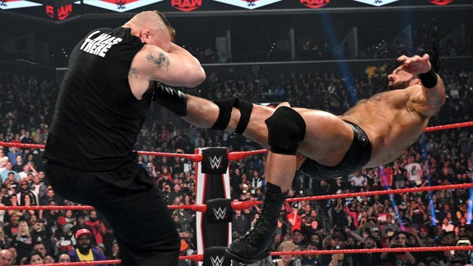 WWE WrestleMania 36 Drew McIntyre Brock Lesnar Claymore kick Raw