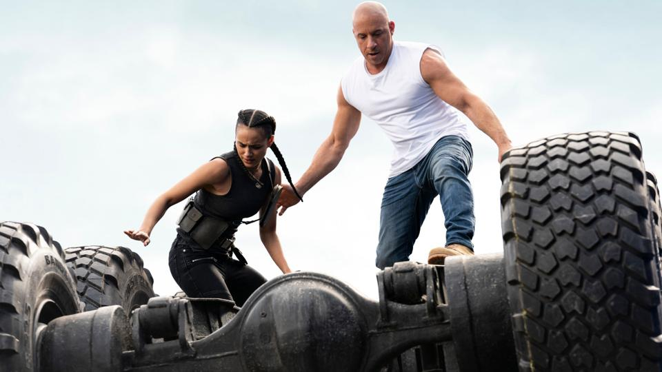 Ramsey (Nathalie Emmanuel) and Dom (Vin Diesel) in F9, directed by Justin Lin