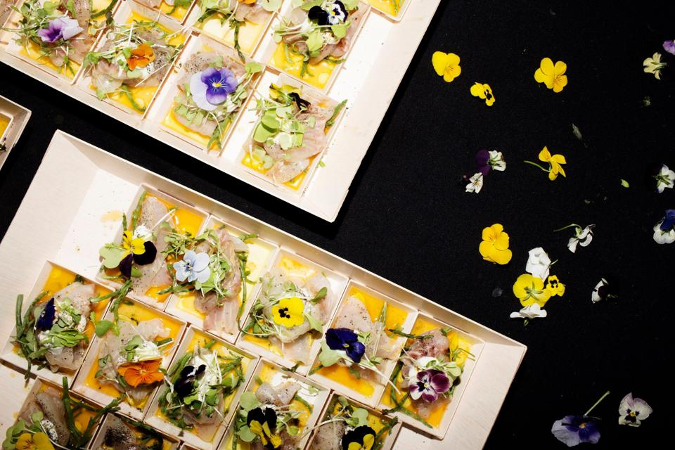 Australis Barramundi Tiradito by chef Sheila Lucero of Jax Fish House, served at the 2019 James Beard Awards in Chicago.