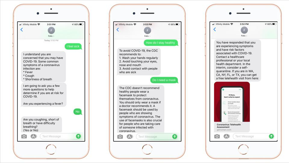 An example of what it looks like to text the Memora Health COVID-19 chatbot