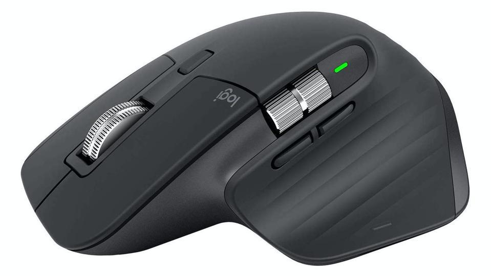 Black Logitech MX Master 3 mouse on a white background.