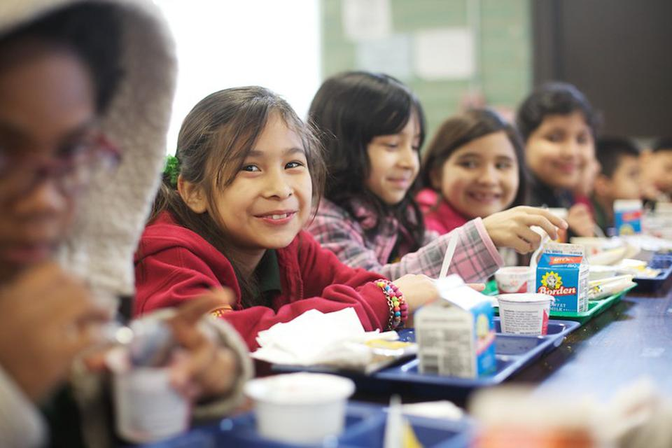 KIPP public school students eat lunch together
