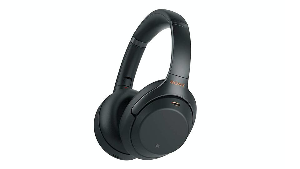 Black Sony WH-1000XM3 headphones on a white background.