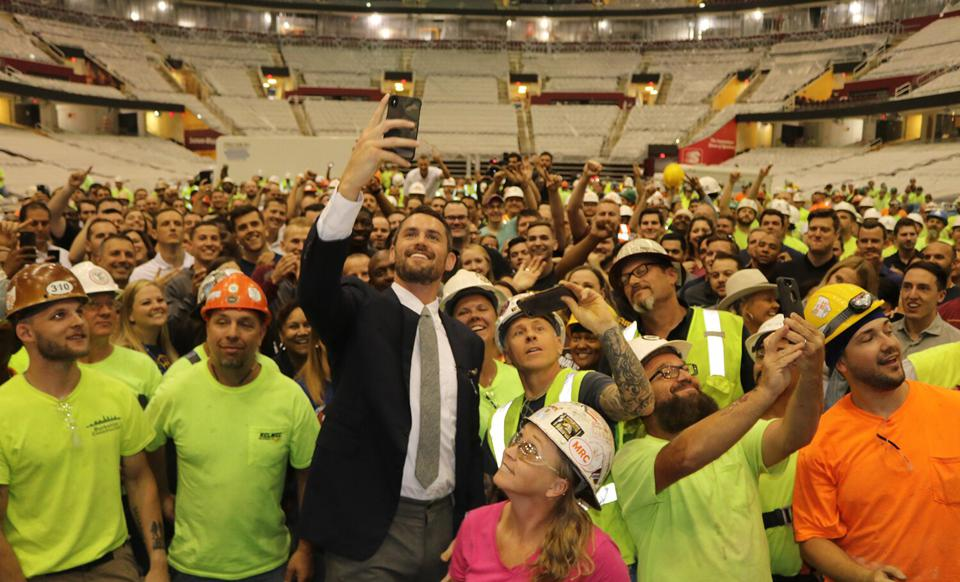 Image result for Kevin Love and arena workers