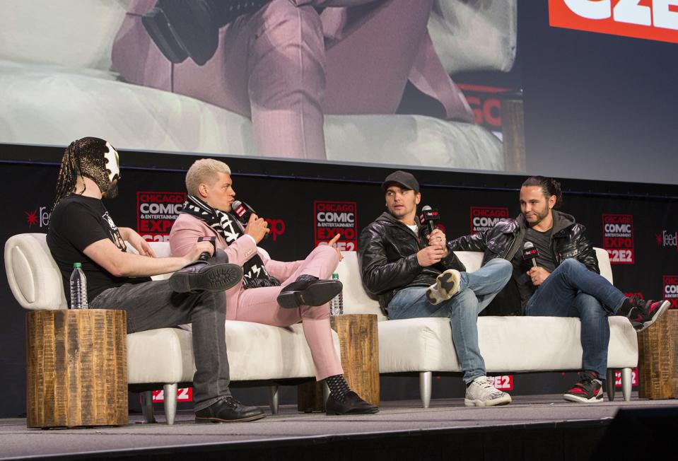 (Left to right) All Elite Wrestling announcer Excalibur and AEW Executive Vice Presidents Cody Rhodes and Nick and Matt Jackson of tag team The Young Bucks on stage during a panel at the C2E2 pop culture convention. Friday, February 28, 2020 at McCormick Place in Chicago, IL (Photo by Barry Brecheisen)