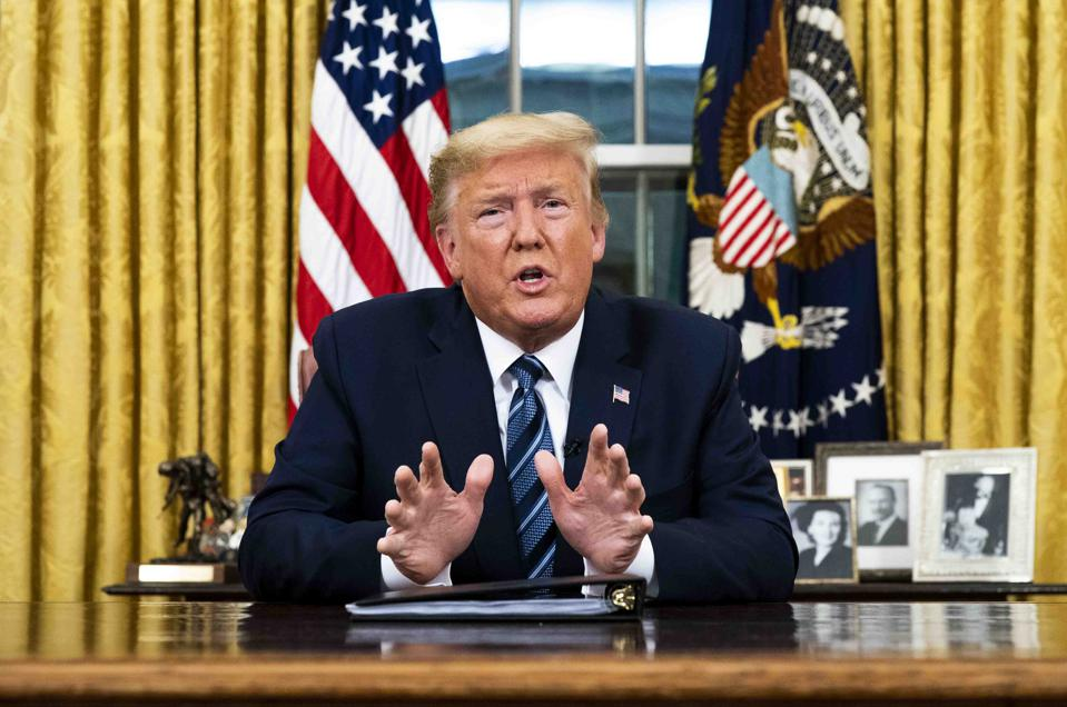 President Trump spoke from the Oval Office about the coronavirus, a European travel ban and, confusingly, about the impact on trade.
