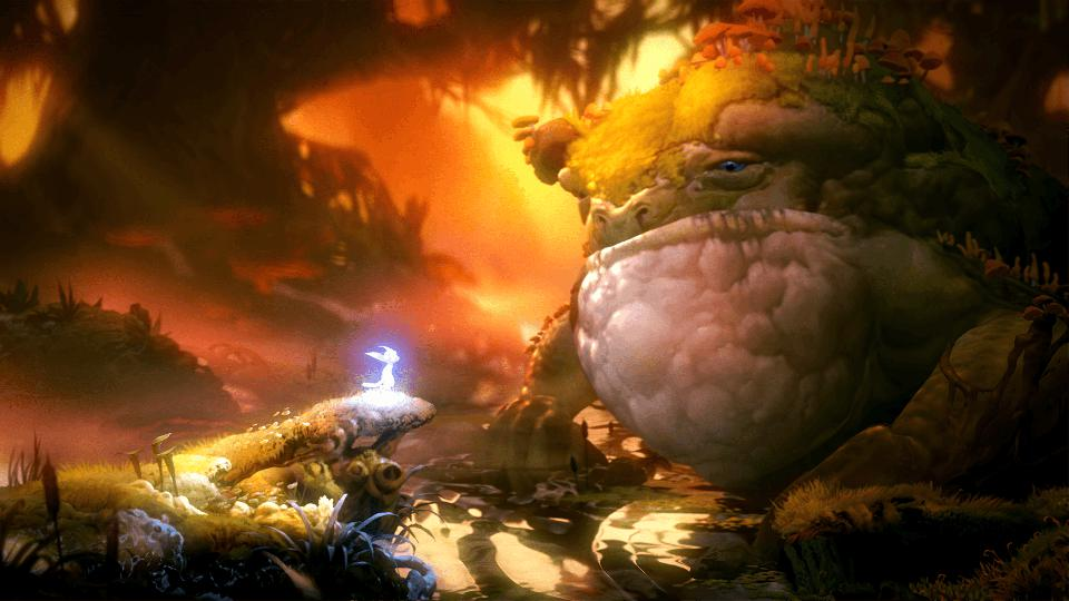 Kwolok the giant frog in Ori and the Will of the Wisps