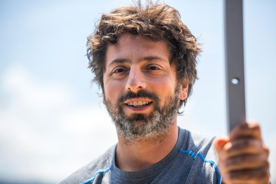 Sergey Brin, co-founder of Google, and Director of Google X and Special Projects, attends an event debuting the new Google self driving car outside the Google X labs in Mountain View, CA.