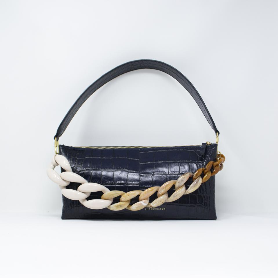 Navy Croc Triangle Baguette with Oversized toffee resin chain
