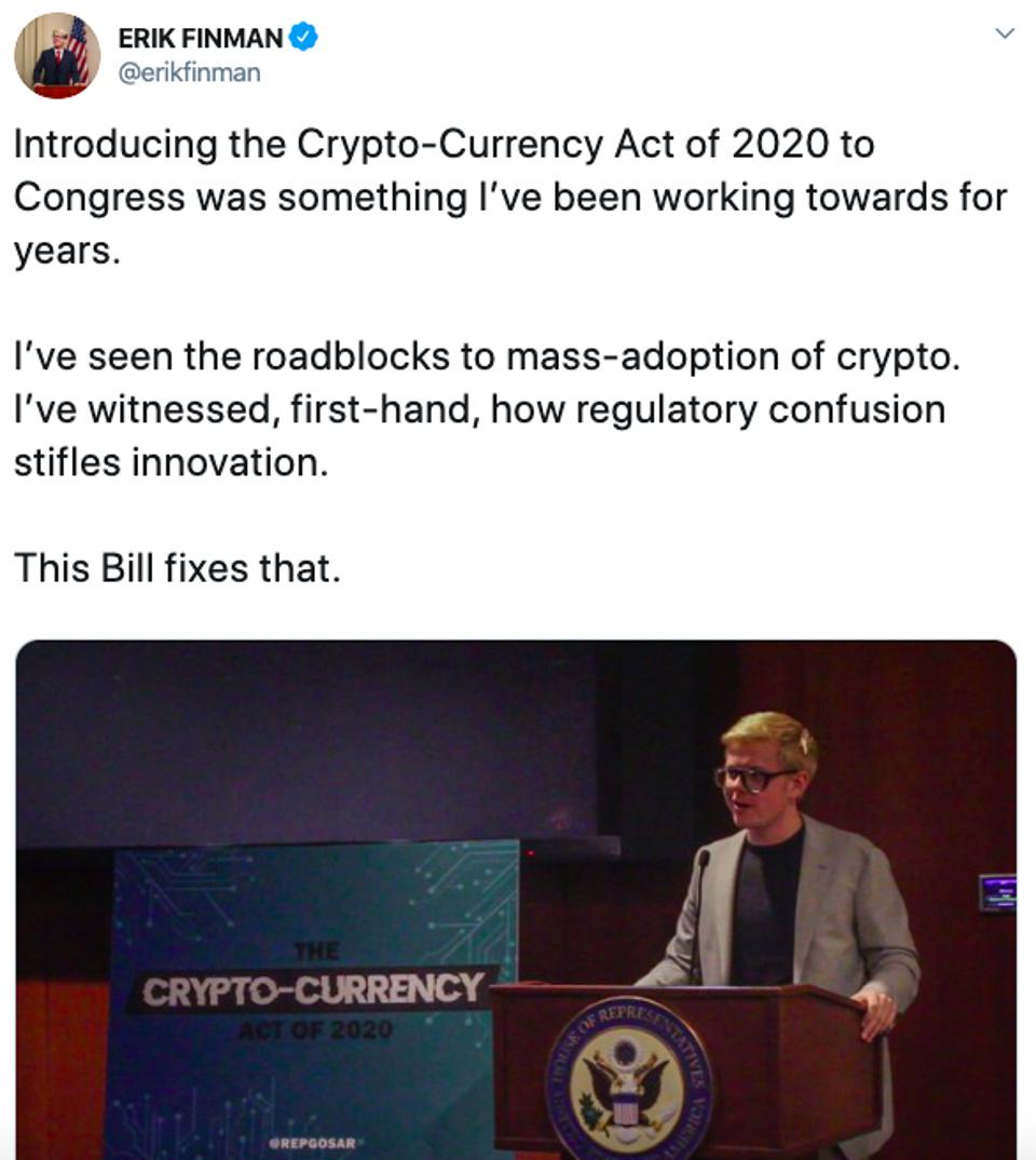 Twitter post by Erik Finman on the Crypto-Currency Act of 2020