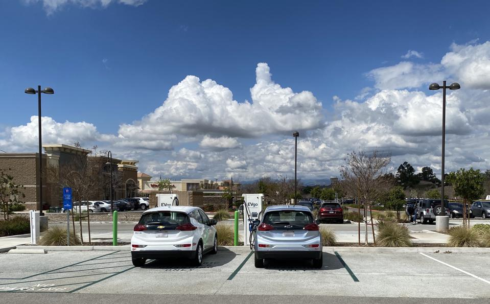 An EVgo DC fast charger station in Santa Clarita, Calif. My Chevy Bolt is on the right.