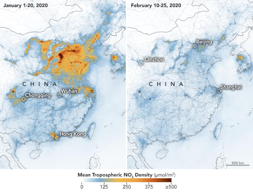 Airborne nitrogen dioxide plummets over China (IMAGE: NASA)