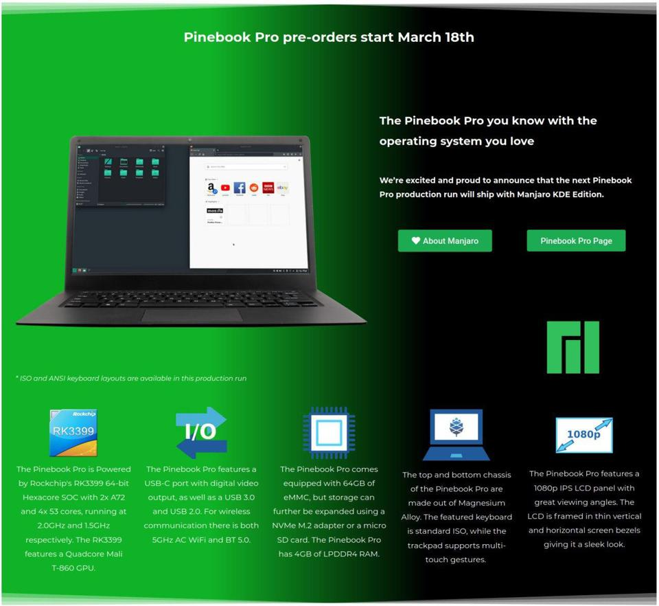 Future Pinebook Pros will ship with a custom version of Manjaro KDE Edition
