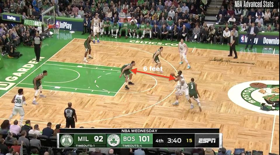 Brook Lopez' defensive positioning on the pick-and-roll.