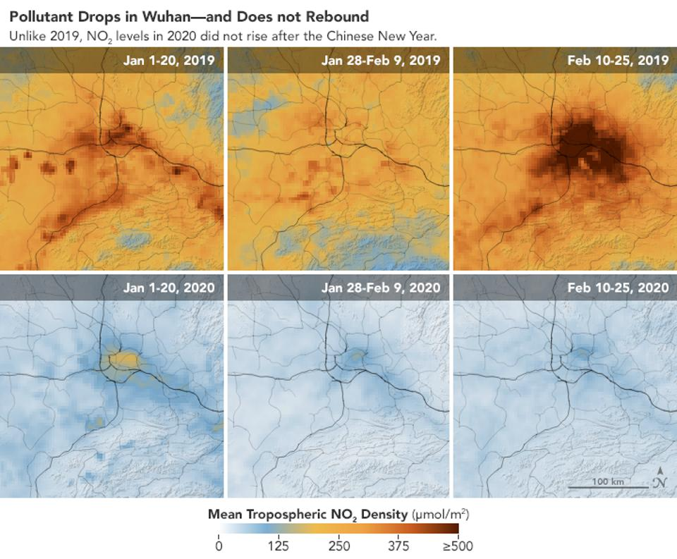 These NASA satellite images show levels of NO2, a noxious gas, over Wuhan China during the Chinese New Year and subsequent coronavirus lockdown.