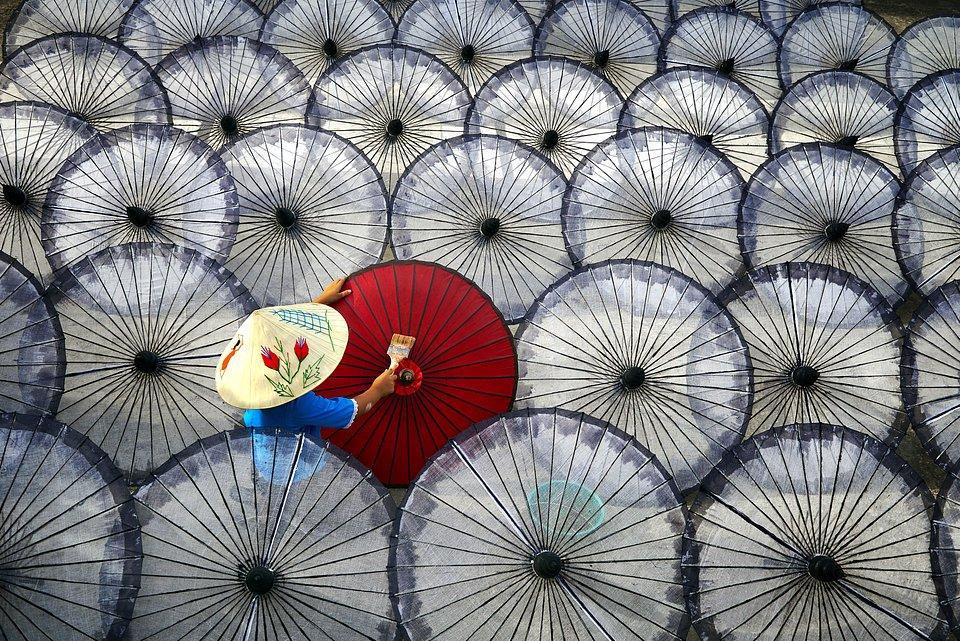 painting umbrellas in Mandalay, Myanmar